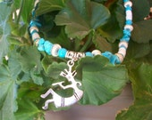 """Natural Turquoise   Silver Kokopelli Charm   Southwestern 17"""" Necklace  Free Shipping in USA"""