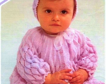 Baby Knitting PATTERN - Jacket and Bonnet 16 to 20 inch chest (3 sizes)