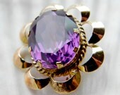Created color change sapphire vernuil alexandrite 14k gold antique brooch