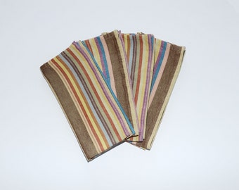 Cloth Napkins, Earthtone Striped Cotton Table Napkins Hand Woven in Guatemala, Set of 4, Fair Trade, Sustainable, Hostess Gift