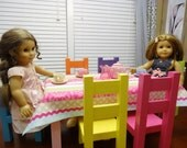 CUSTOM Colors American doll table and 6 chairs in custom color paint of your choice with optional TABLECLOTH