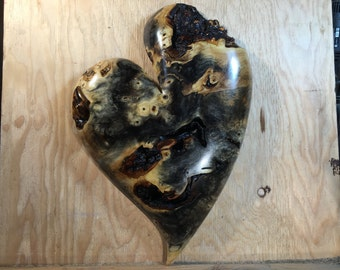 Wood heart special best friend gift wooden heart shaped sculpture wood carving by Gary Burns the treewiz