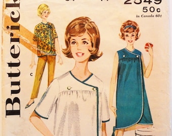 1960s Dress pattern beach cover up, robe, front wrap sleeveless dress pattern vintage sewing pattern Butterick 2549 misses size 14, bust 34