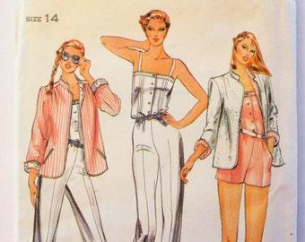 Vintage jumpsuit pattern, 1980s fashion, retro casual jacket, Butterick 3705, misses size 14, bust 36, uncut, vintage sewing pattern