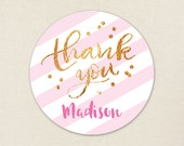 "Gold and Pink ""Thank You"" Stickers - Sheet of 12 or 24"