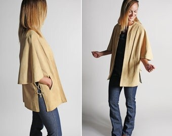 Vintage Beige Fuax Suede Dolman Capelet - Cape Jacket Outerwear Brown Tan Women's Coat Wide Sleeves - One Size Fits Most