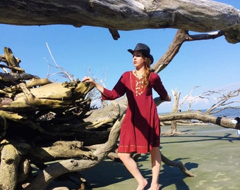 Large Boho Dress, Burgundy Bohemian Music Festival Dress, Burning Man Dress, Hippie Chic Dress, Vintage Gypsy Dress, True Rebel Clothing