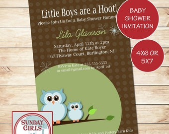 Owl Baby Shower Invitation-Digital Custom Card-Baby Boy
