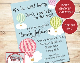 Hot Air Balloons - Gender Neutral Baby Shower Invitation-Digital Custom Card- Transportation