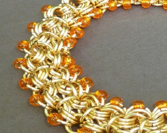 Hand Crafted Chainmaille Bracelet- Hand Crafted Orange Bracelet- Hand Crafted Double Chain Chainmaille Bracelet