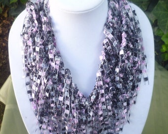 Hand Knit String Scarf-Hand Knit ribbon scarf-Hand Knit infinity Scarf-Knit shaggy scarf- -Hand knit Trellis Scarf- knit fringe scarf-scarve