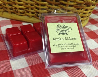 Apple Slices Hand made Soy Blend Candle Wax Melts Breakaway Clamshell Tarts Rustic Charm