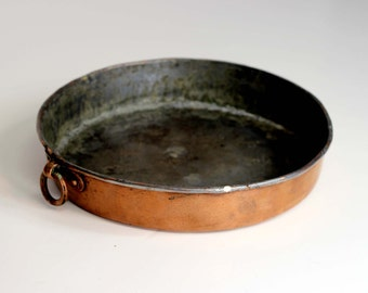 Vintage Copper Pot Pan / Copper Au Gratin / Primative Copper Pan