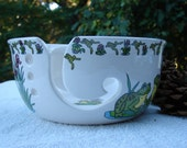Frogs! Its All About Frogs!! Large Ceramic Yarn Bowl / Yarn Holder