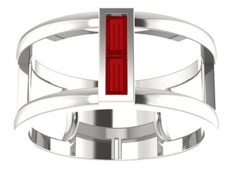 Chatham Ruby Double Baguette Band Ring, 14kt Gold Negative Space Ring, July Birthstone Ring