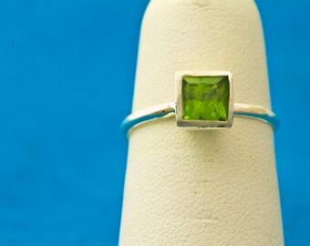 Peridot Princess Cut August Birthstone Stacking Ring, 16TH ANNIVERSARY GIFT