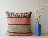 Vintage Kilim Pillow Case, Pink Kelim Pillow Cover
