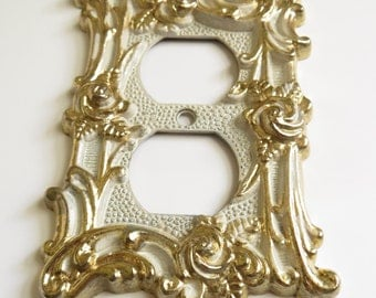 Vintage Decorative Metal Outlet Cover White and Gold Flower Motif