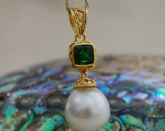 Cariana - Gorgeous South Sea Pearl Pendant, green diopside accent gemstone, pearl pendant, necklace, jewelry, gift idea, 24k/ss  vermeil