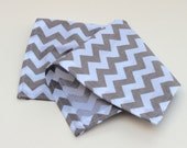Pocket Square for Men - Chevron Print - Grey Gray and White Kerchief Hankie