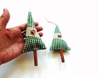 Balsam pine tree sachet, pine and cinnamon sachet tree ornaments, cinnamon stick tree, festive holiday sachet ornaments