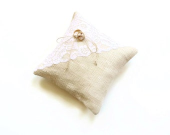 Ring bearer pillow, burlap pillow, rustic country wedding, ring pillow, creamy natural white, simple wedding