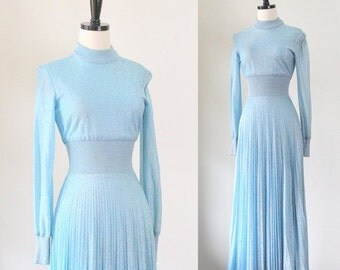 Blue Maxi Dress 1970s Dress Blue Sweater Dress Long Sleeve Maxi Dress Baby Blue Long Dress 1970s Clothing Accordion Pleated XS SM