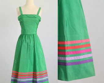 Vintage Sundress Womens Cotton Sundress 1980s Midi Dress 80s Dress Green Sundress Summer Dress Womens Dresses Size Extra Small XS