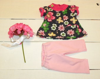 Flowered Dress and Pink Leggings - 16 - 18 inch doll clothes