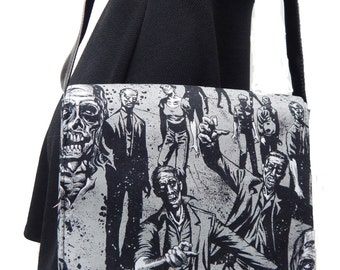"USA Handmade Messenger Bag With  ""ZOMBIE CHARCOAL"" Shoulder Bag Pattern  Cotton Fabric, New , Rare"