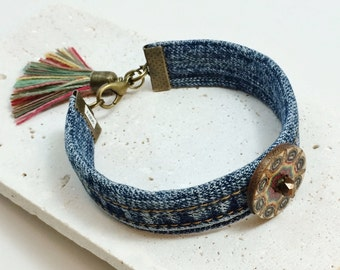Denim Fabric Blue Jean Upcycled Decoupage Wood Button Bronze Silk Tassel Beaded Cuff Bangle Bracelet / Textile / Statement / Gift for Her