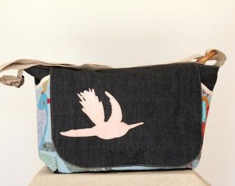 eco-friendly diaper bag,messenger bag, nappy bag, reclaimed fabrics,leather bird design,dark blue denim,printed birds fabric,spring bag