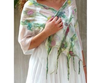 Nuno felt scarf, Pastel felt scarf, Floral felt scarf,  Spring felt scarf, floral silk scarf, luxury felt scarf, merino silk scarf,
