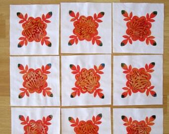 """9 Batik Quilt Block Appliques 6 1/2"""""""