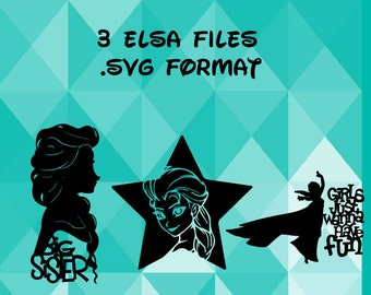 Elsa Bundle Pack - Frozen Inspired - Disney - Paper Cut File for silhouette or circut - SVG file - Srapbooking and Paper Art DYI