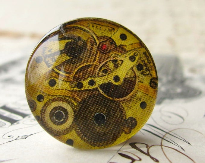 Steampunk watch movement, gears, brown, neutrals (2 handmade cabochon) glass art cab, round 22mm, flat back image