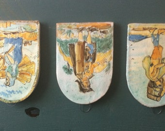 Set of 3 hand painted glazed terra cotta wall hanings from Taormina, Sicily