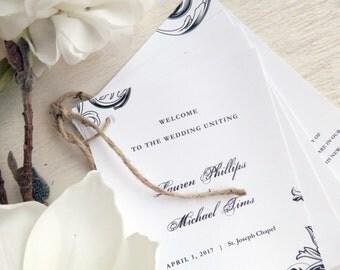 Printable Wedding Programs  | Ceremony program  | Multi-page Programs - Style P73 - FLOURISH COLLECTION
