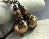 Golden Pearl Glass Bead Earrings - A.803