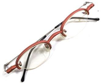 vintage 90s deadstock thin oval metal eyeglasses frame plastic matte salmon pink silver wire retro eye glasses eyewear 1/2 rim optical A46