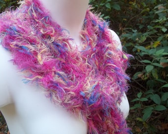 Hot Pink Knit Scarf, Drop Stitch Novelty Eyelash Yarn Scarf, Women's Accessory, Long Fringe Scarf, Wild Child
