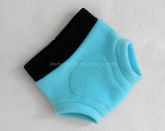 Small Anti-Pill Fleece Soaker/Fitted Diaper Cover/Underwear in Solid Black and Beach Blue Teal, Ready to Ship