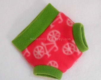 Small Fleece Fitted Soaker/Fitted Diaper Cover/Fitted Nappy Cover , Bicycle Pink and Green, Ready to Ship for Spring