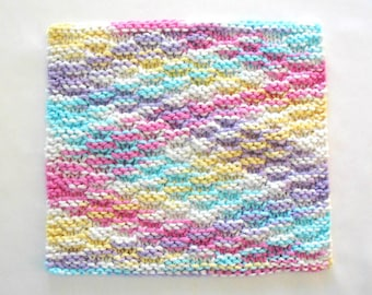Knit Cotton Washcloth, Knitted Washcloth, Face Cloth, Facial Wash Cloth, Pastels Washcloth