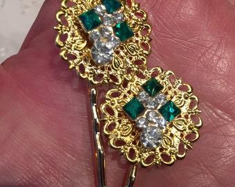 Vintage Green Rhinestone Hair Bobby Pins Bridesmaid Wedding Prom Art Deco Gold Doodaba