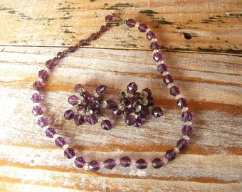Vintage Purple Crystal Bead Choker Necklace and Clip Earrings Set
