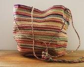 Large Vintage 1970s Multi Colored Striped Bohemian Sisal Style Woven Jute Farmers Market Beach Tote Handbag Purse