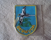 Vintage 1960s Bermuda Travel Patch Black and White Sea Bird