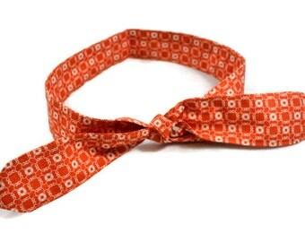 Orange Moda Print Rockabilly Hair Scarf