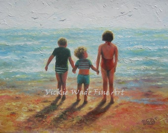 Beach Children Art Print, three beach kids, beach wall art, kids holding hands, aqua, loving children, beach kids, Vickie Wade Art